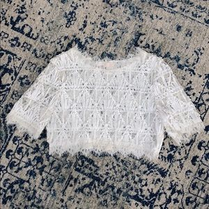 White lace crop top.